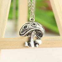 family love necklace--mushroom necklace,antique silver charm pendant,alloy chain