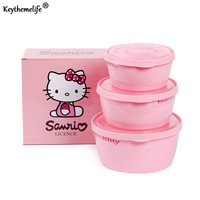 Keythemelife 3PCS/set Kitchen Food Storage Box Preservation Box Plastic PP Hello kitty Food Container Refrigerator Organizer 2C
