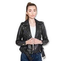 Womens Moto Nappa Leather Jacket - Clearance