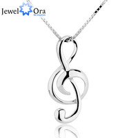 Sterling Silver Music Note Pendant Necklace Elegant Women Jewelry