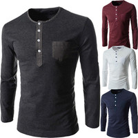Smart Grandad Long Sleeve Slim Fit Men Fashion Tee