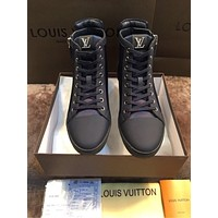 lv louis vuitton trending womens black leather side zip lace up ankle boots shoes high boots 200