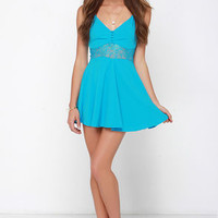 From Sheer to There Blue Lace Dress