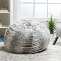 Macedonia Silver Dusk Fur Fabric Bean Bag