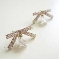 Bow stud earrings- small rhinestones - dainty romantic bow earrings