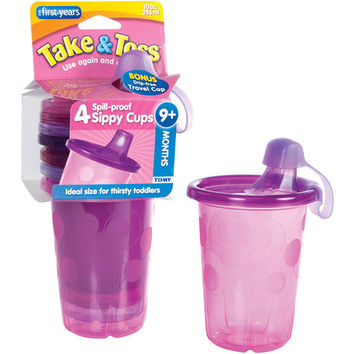 Take & Toss Four-Piece 10-Oz. Spill-Proof Cup & Travel Cap Set