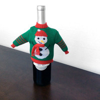 Knit Ugly Christmas Sweater For Your Bottle of Wine – Green Snowman