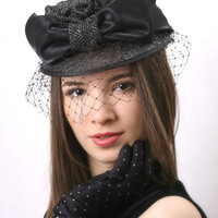 Kentucky black and silver derby hat, Royal Ascot Fascinator, Wedding Haute Couture Fascinator Cap hat with veil and big taffeta band