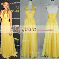 Star Style Low cut V-neck Draped Sexy Backless Chiffon Prom Gowm Dresses Bridesmaid Dresses Wedding Cocktail Dress