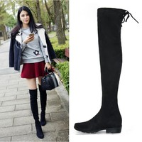 New Women Boots Stretch Over Knee Winter Boots With Fur Black Thigh High Boots Shoes Woman Big Size Round Toe Winter Boots Black