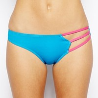 By Caprice Tie Side Bikini Bottom With Contrast Stripe Ties