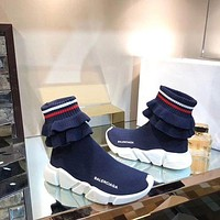 2019 New Balenciaga Speed Trainers Blue Sneakers