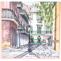 Vintage New Orleans Street Scene Original Watercolor Painting Signed Free US Shipping