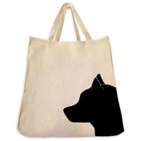 Siberian Husky Silhouette Extra Large Eco Friendly Reusable Cotton Canvas Tote Bag