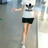 """""""Adidas"""" Fashion Casual Clover Letter Embroidery Short Sleeve Set Two-Piece Sportswear"""