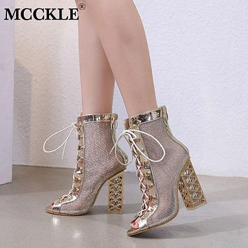 MCCKLE Peep Toe Shoes Women Ankle Boots Mesh Lace Up Gladiator Sandals Gold Bling High Heels Breathable Autumn Fashion Footwear