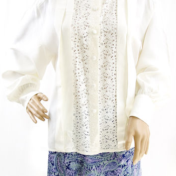 Vintage White & Lace Blouse - Size 14