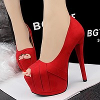 Summer Fashion  Hollow Stitching Shallow Mouth Exposed Toe Women Shoes Platform Heels Shoes