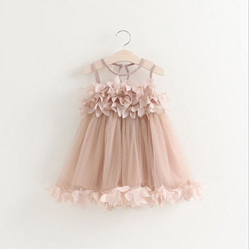 Summer Mesh Vest Girls Dress Baby Girl Princess Dress Fashion Sleeveless Petal Decoration Party Chlidren Clothes