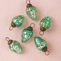 Luna Bazaar Mini Mercury Glass Ornaments - (Set of 6 Laura Design, 1-Inch, Vintage Green) - Vintage-Style Decoration