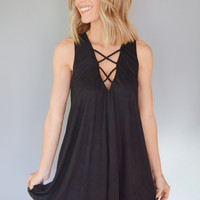 Winding Road Faux Suede Dress Black