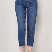 PacSun Savanna Blue Frayed Waist Mom Jeans at PacSun.com