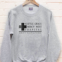 Seattle Grace Mercy West Hospital printed on Black, White, Light steel, Maroon or Navy Crew neck Sweatshirt