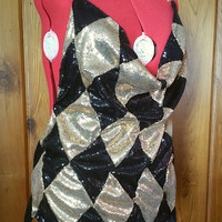 RESERVED Harley Quinn Inspired Black And Gold Diamond Sequins Club Dress