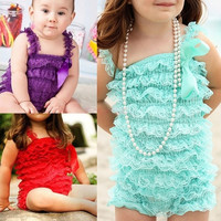 Newborn Infant Baby Girl Lace Posh Petti Ruffle Romper 0-3 Years One piece 20079|26601 Children's Clothing = 1745480836