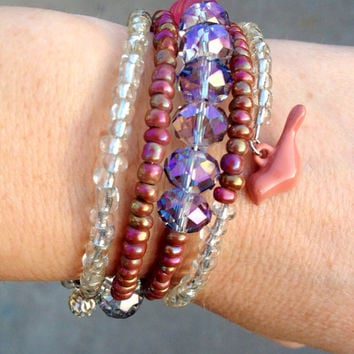 Mauve Beaded Memory Wire Wrap Bracelet, Bird Charm
