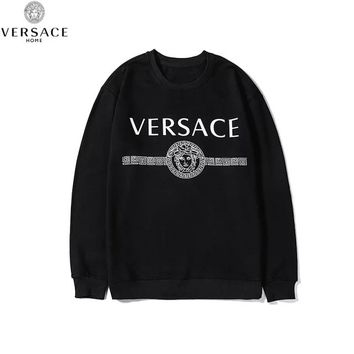 Versace 2019 new printed letter couple loose round neck casual long-sleeved sweater Black