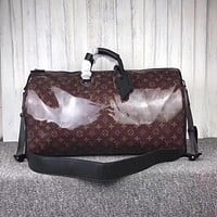 LV Louis Vuitton MONOGRAM GLAZE CANVAS KEEPALL 50 SHOULDER BAG TRAVEL BAG
