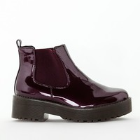Missguided - Rubber Sole Chelsea Boots Burgundy Patent