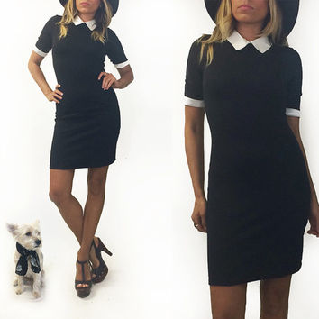 Vintage 1980s BLACK & WHITE Mod Peter Pan Collar Wednesday Addams Gothic Lolita Costume Dress    Size XS to S