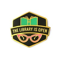 The Library Is Open Pin