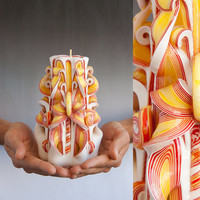 Carved candles - White candle - Red and White