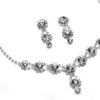 USABride Sparkling Crystal with Rhinestones, Necklace & Earrings Prom Jewelry Set 503