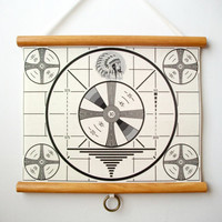 """Mini Printed Fabric Vintage Style School Chart with Wood Trim - T.V. Test Pattern (11"""" x 9"""")"""