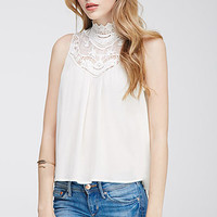 Crochet-Trimmed High-Neck Top