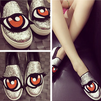 Leather Thick Crust Flat Vans Plus Size Shoes [4920470468]