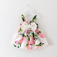 Summer Baby Girl Dress Lemon Print Newborn Infant Dresses Christening Gowns Princess Birthday Dress for Baby Girl
