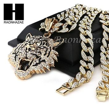 "Mens 14k Plated DRAKE TIGER Pendant w/ 30"" Cuban Link Chain NN032G"