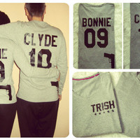 Bonnie and Clyde Special Edition with GUNS long sleeve t-shirt, bonnie clyde matching couple long sleeve, UNISEX STYLE