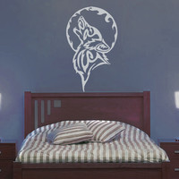 Tribal Wolf Moon Wall Decal - No 1