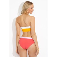 Lori Color Block Moderate Bikini Bottom- Strawberry/Rose