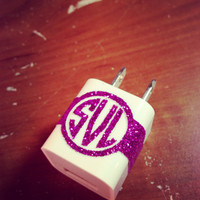 Glitter iPhone Charger Monogram in Circle by SunshineVinyl on Etsy