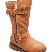 Khaki Quilt Design Boot for Girls with Side Zipper