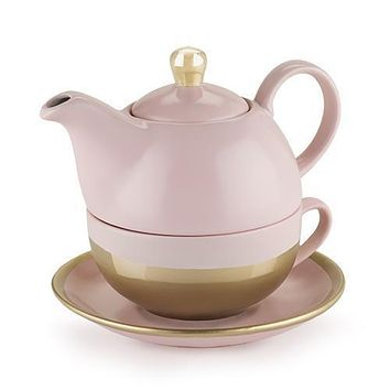 Addison Pink and Gold Tea for One Set by Pinky Up