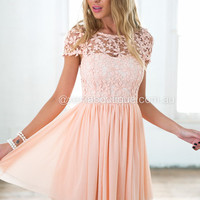 Splended Angel Dress (Peach) | Xenia Boutique | Women's fashion for Less - Fast Shipping