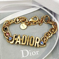 DIOR New fashion letter diamond women retro bracelet Golden
